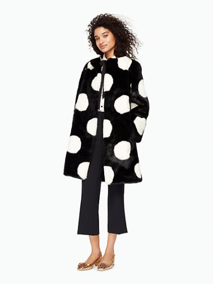 Polka Dot Faux Fur Coat $358